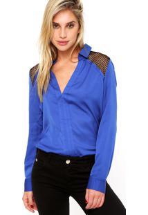 Camisa Manga Longa Forum Vazados Azul
