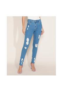 Calça Jeans Feminina Sawary Super Skinny Hot Cintura Alta Destroyed Azul Médio