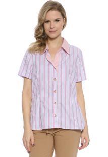 Camisa Mg Curta - Feminino-Rosa