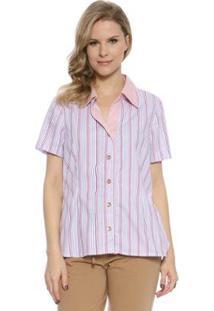 Camisa Moché Curta Feminina - Feminino-Rosa