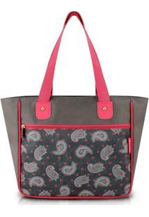 Bolsa Jacki Design Shopper - Feminino-Cinza+Vermelho