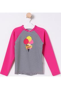 Camiseta Listrada & Sorvete- Rosa & Preta- Puketpuket
