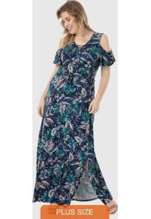 Vestido Azul Com Fenda & Aberturas Wee!