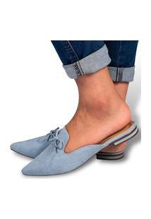 Mule Feminino Sapatilha Rasteirinha Bico Fino Camurça Azul Moda