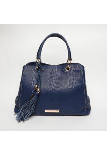 Bolsa Em Couro Com Barbicachos - Azul Marinho- 24X46Jorge Bischoff