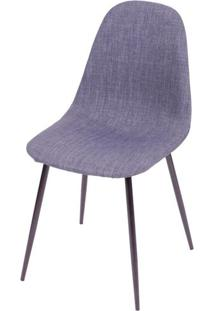 Cadeira Robin Linho Jeans Azul Com Base Preta - 43086 Sun House