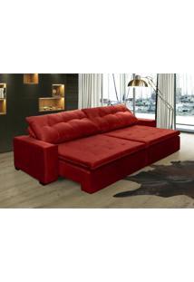 Sofá Retrátil, Reclinável Oklahoma 3,02M, Molas E Pillow No Assento Tecido Suede Vermelho Cama Inbox