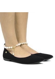 Sapatilha Zariff Shoes Pérola Feminina - Feminino-Preto