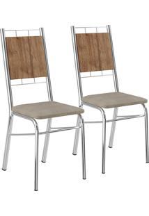 Kit 2 Cadeiras Mdp Native Tecido Camurça Cromado Móveis Carraro