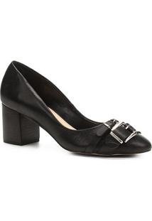 Scarpin Shoestock Salto Médio Fivelas - Feminino-Preto