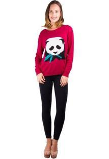 Blusa Banna Hanna Tricot Panda Com Folha - Feminino-Vinho