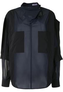 Toga Blusa Oversized Color Block - Preto