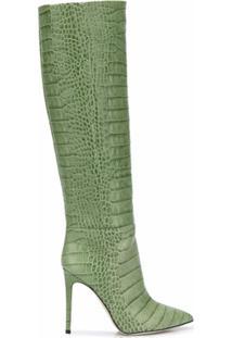 Paris Texas Bota Com Efeito Pele De Crocodilo E Salto 100Mm - Verde