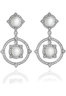Brinco Ouro Branco Pã©Rolas E Diamantes