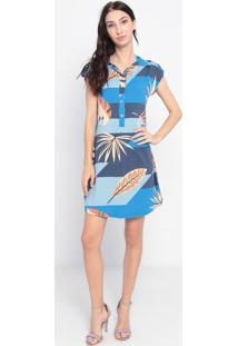 Vestido Com Botões- Azul & Laranja- Maria Padilhamaria Padilha