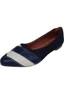 Sapatilha Aniz Jeans Com Detalhes Azul E Off Whithe - Kanui