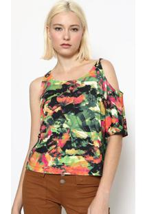 Blusa Abstrata Com Vazados - Verde & Rosacalvin Klein