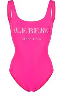 Iceberg Maiô Com Estampa De Logo - Rosa