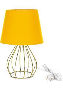 Abajur Cebola Dome Amarelo Com Aramado Dourado