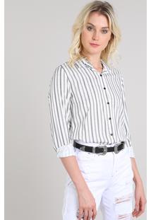 1b51c996a3 Camisa Feminina Listrada Manga Longa Off White