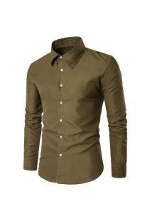 Camisa Masculina Slim Cor Sólida - Verde Militar