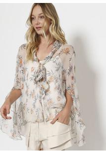 Camisa Floral Em Seda Com Amarração - Cinza Claro & Laracanal