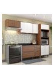 Cozinha Compacta Calábria Armário Para Forno E Balcão 3 Gavetas Nogueira/ Branco