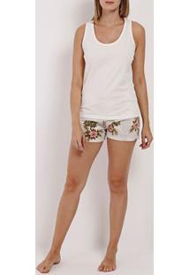Pijama Curto Feminino Off White