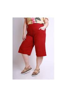 Calça Almaria Plus Size Munny Pantacourt Liso Vermelho