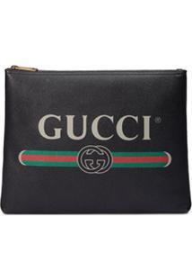 Gucci Pasta De Couro Com Logo - Preto