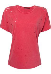 Blusa Bobô Destroyed Malha Algodão Vermelho Feminina (Tomate, M)