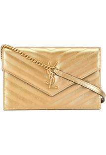 Saint Laurent Bolsa Transversal Monogramada Com Logo - Dourado