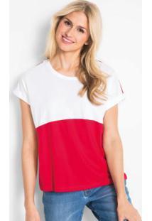 Blusa Bicolor Com Listra Branca E Vermelha