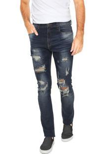 Calça Jeans Handbook Slim Destroyed Azul