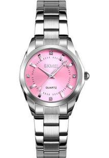 Relógio Skmei Analógico 1620 Feminino - Feminino-Prata+Rosa