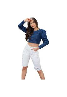 Bermuda Jeans Feminina Mirna Off White