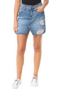Saia Calvin Klein Jeans Five Pockets Azul Médio - 38