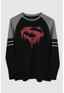 Camiseta Manga Longa Dc Comics Superman Bleeding Bandup! - Masculino