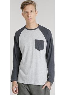 Camiseta Masculina Com Bolso Manga Longa Raglan Gola Careca Cinza Mescla