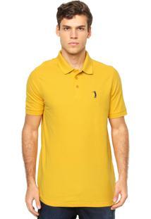 Camisa Polo Manga Curta Aleatory Bordado Amarela