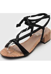 Sandália Dafiti Shoes Cortiça Preta