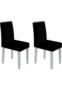 Conjunto Com 2 Cadeiras Ana Off White E Preto