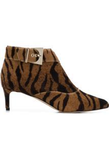 Chloe Gosselin Ankle Boot 'Tigre' Com Pelo De Bezerro - Marrom