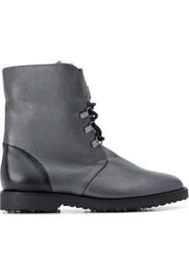 Hogl Ankle Boot Com Cadarço - Cinza