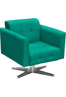 Poltrona Decorativa Elisa Suede Verde Tiffany Com Base Giratória Em Aço Cromado - D'Rossi
