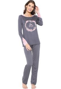 Pijama Any Any Letícia Grafite/Rosa