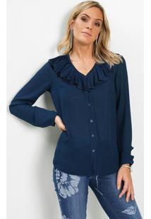 Blusa Decote Com Babados Azul Marinho