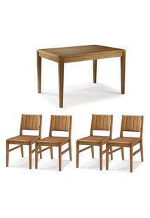Conjunto Mesa Jantar Tampo Madeira + 4 Cadeiras Salvador Assento Madeira - 60475 Preto