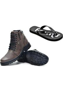 Kit Coturno + Chinelo Form'S Masculino - Masculino-Marrom