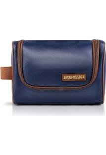 Necessaire C/ Alça Lateral Jacki Design Microfibra - Masculino-Marrom+Azul